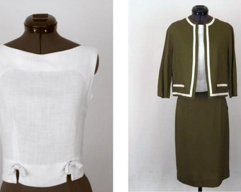 Vintage 60's 3 Piece Skirt Suit in Olive Green and White Size XS