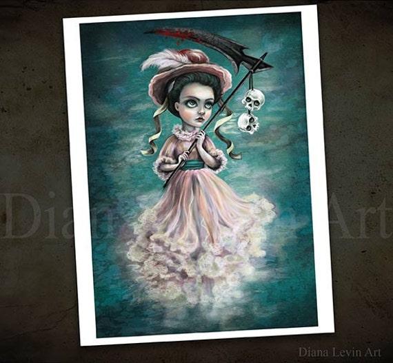 Lady Grim Reaper - Creepy Victorian Painting - Dark Fantasy Art Print