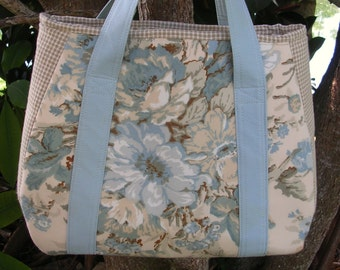 Large Fabric Tote, Pale Blue, Taupe, Natural, Shopping, Crafts, Diaper Bag, Books, Electronics, One of a Kind