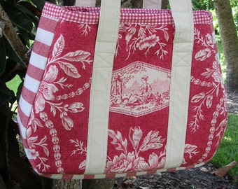 Large Fabric Tote, Red, White, Shopping, Crafts, Diaper Bag, Books, Electronics, One of a Kind