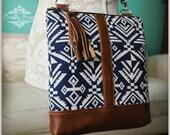 La Natalia Bag - Cross body bag -Navy blue bag - Classic bag - Aztec handbag - Leather Bag - Travel bag -