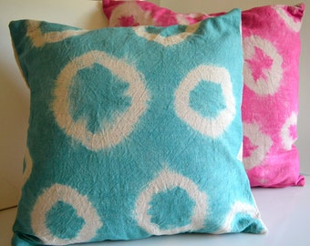 Turquoise Shibori Pillow, Decorative Linen Pillow, Hand Dyed Pillow, 16x16 Pillow Cover, Bedroom Decor Boho