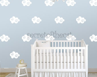 Nursery Wall Decal. Clouds Decals. Decal Set. Baby wall decal. Swirl decal. Pattern. Wall Pattern