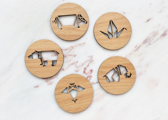 Origami Coasters // Laser Cut Wood Drink Coasters // Set of 5