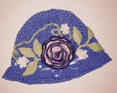 Blue Sunhat With Flowers, Flower Sunhat, Blue Floral Sunhat, Blue Chemo Hat