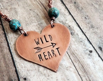 Wild Heart Necklace, Boho Necklace, Stamped Jewelry, Quote Necklace, Free Spirit, Copper Pendant