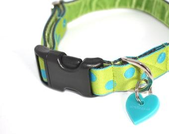 Scrufts' Luscious Lime Polka Dot Handmade Dog Collar and Lead