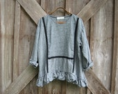 linen top blouse tunic in grey and black stripe ready to ship