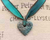 Mixed Media Valentine's Jewelry Blue Teal Turquoise Heart Necklace Colorful Heart Jewelry Hand Dyed Silk Ribbon Necklace