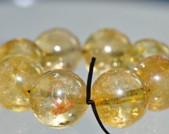 8 Pieces 11mm Sun Ray~Genuine Untreated Translucent GOLDEN Yellow CITRINE Large Round Beads - Q0982