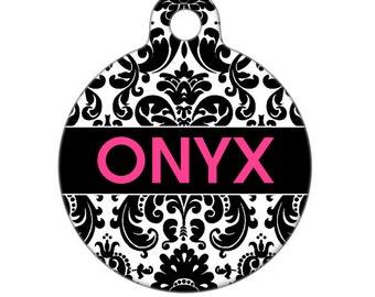Personalized Pet ID Tag - Onyx Damask Custom Name Pet Tag, Dog Tag, Cat Tag, Luggage Tag, Child ID Tag