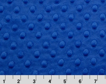 Minky By Shannon Fabrics, Electric Blue Minky, Cuddle, Minky Dot Fabric, Royal Blue, Blue, Dimple, Minkee, Sold By The Yard