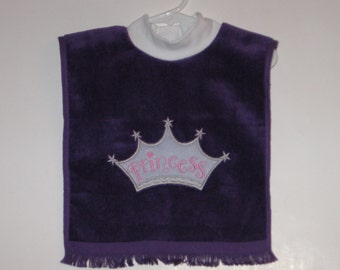 Large Baby Girl Bib, Princess, Crown, Pullover Bib, Towel Bib, Matching Items, Many Colors, Terrycloth Velour, Baby Girl Gift