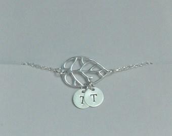 Sterling Silver, Leaf Bracelet, Personalized Bracelet, Initial Bracelet, Bridesmaid Gift, Birthday Gift, Children's Gift