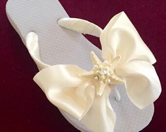 BEACH Wedding Flip Flops WedgesBridal FlopsNATURAL Starfish