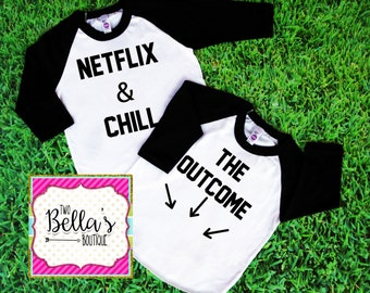 Netflix and Chill Raglan shirt- Pregnancy Announcement shirt- Soon to be parents shirt- Mom to be-Pregnancy announcement- Pregnant shirt set