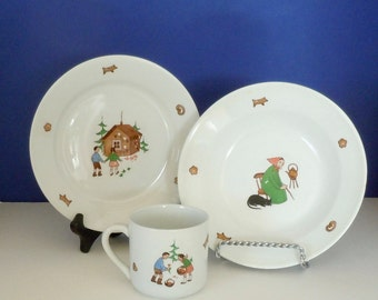 Vintage Arabia Finland Child's 3-Piece Set Dinnerware Hansel and Gretel