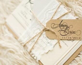 Rustic Lace Wedding Invitation - SAMPLE   Lace Wedding Invitation - SAMPLE   Rustic Wedding Invitation - SAMPLE