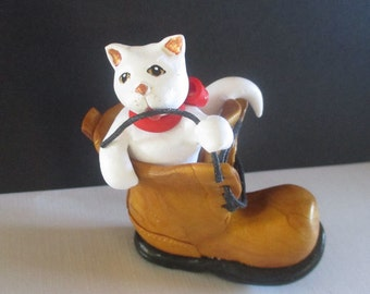 PLAYFUL WHITE KITTEN in laced work boot, completely handcrafted with polymer clay