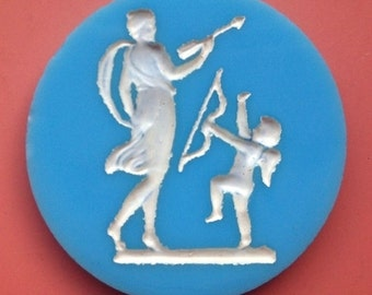 BWB Magnificent and Endearing Vintage Venus with Playful Cupid Round Cab Wedgewood Inspired (1) 35mm