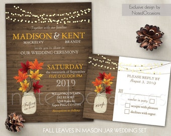 Rustic Fall Wedding Invitation Set  Fall Leaves Rustic Wedding Printable, Mason Jar Wedding invitation RSVP Country Wedding DIY template