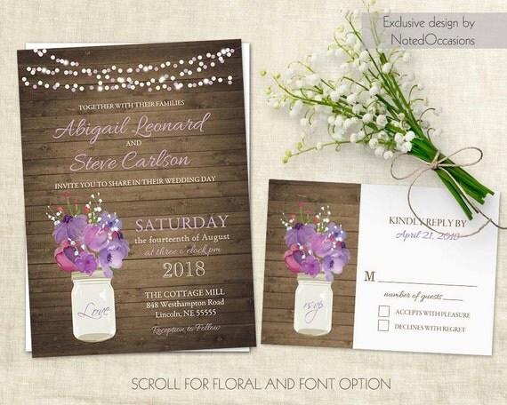 Purple Rustic Wedding Invitations: Rustic Wedding Invitations Purple Floral Country Wedding