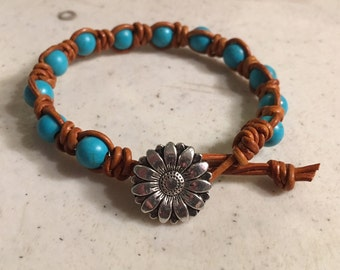 Brown Bracelet - Macrame Jewelry - Turquoise Gemstones - Leather - Fashion - Trendy - Beaded - Silver Flower Button