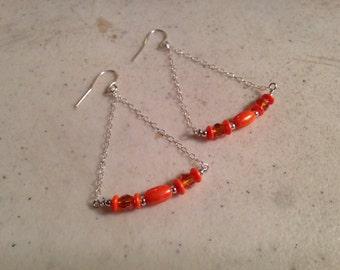 Orange Earrings - Sterling Silver Jewelry - Beaded Jewellery - Crystal - Fashion - Dangle