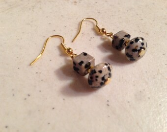 Dalmatian Jasper Earrings - Gold Jewelery - Gemstone Jewellery - Fashion - Trendy
