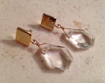 Gold Earrings - Crystal Jewellery - Wedding Earrings - Chic Jewelry - Luxe - Bride