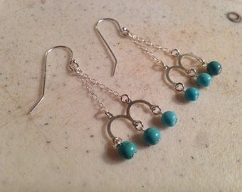 Turquoise Earrings - Sterling Silver Jewellery - Chandelier - Gemstone Jewelry - Fashion - Trendy