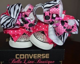 Swarovski Crystal Blinged Black Converse Hightops Size 4 Infant - Over The Top Minnie Mouse Bows - READY TO SHIP