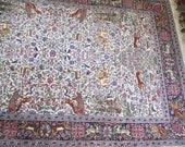 Vintage Persian rug/ animal motif/pink/blue/green/floral