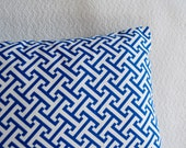 Two (2) Blue and White Graphic Greek Key Pillow Cover 12x12