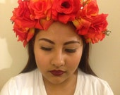 Hot Summer Red and Yellow Red Rose Flower Headpiece, flower crown, flower vine crown, statement flower heafpiece, Ready to Ship