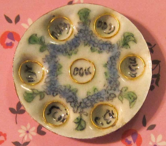 Dollhouse Miniatures Jewish Passover Plate Porcelain 12th
