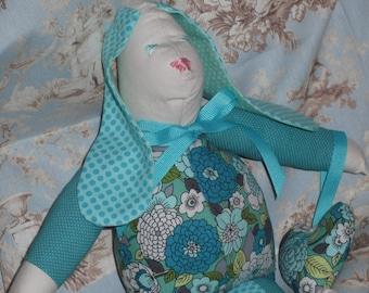 Handmade Bunny Turquoise Calico Fabric with Heart