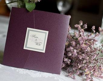 Plum Wedding Invitation - Purple Wedding Invitation - Pocketfold Wedding Invite - Silver and Purple Wedding Stationery -  Wedding Invitation