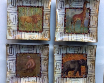 Set of 4 decoupage 8in square African animal plates