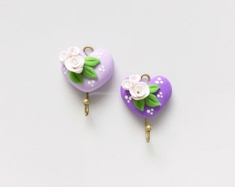 Shabby heart coat hooks in lilac for 1:12 scale dollhouse handmade from polymer clay