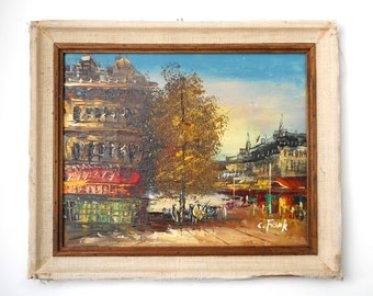 Vintage Painting Paris Cafe Street Scene signed C. Frank unframed