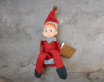 Vintage Pixie Red Knee Hugger Christmas Ornament Shelf Sitter Elf w Tags 1968 Inarco