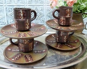 EARTHY Ironstone Pottery ~Hand Painted Vintage Pottery Teaset ~8 piece Teaset ~Made in JAPAN