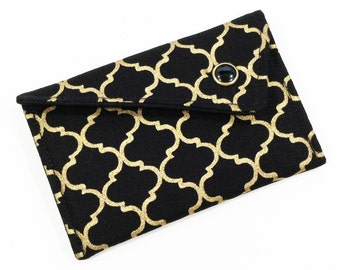 Business Card Holder - Black and Metallic Gold Lattice (LIMITED EDITION) Card Case Wallet