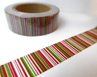 Red Green and White Stripes Washi Tape - Paper Tape Great for Scrapbooking Paper Crafts and Christmas Decorations - 15mm x 10m