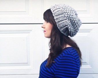 Slouchy Knit Hat / Chunky Knit Slouch Beanie / Slouchy Mama Hat / Womens Winter Hat / Grey Beanie