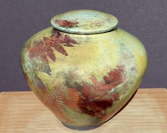 Copper Fern Jar,Raku Decorative Urn Handmade USA,Turquoise Yellow, Home and LIving Kitchen and Dining Bath Decor Pottery Ceramic  Grouping