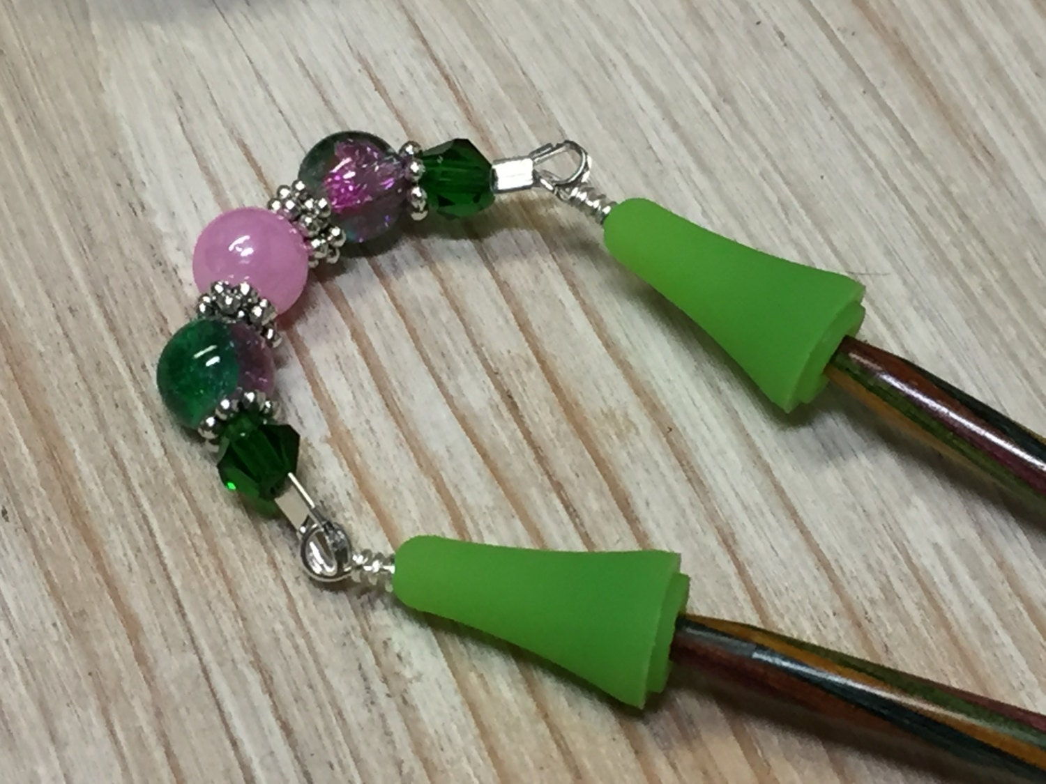 Beaded Point Protector Stitch Holder- Pink & Green Knitting Needle Jewelr...
