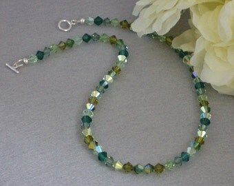 Mixture Of Greens For Swarovski Crystal Necklace    FREE SHIPPING