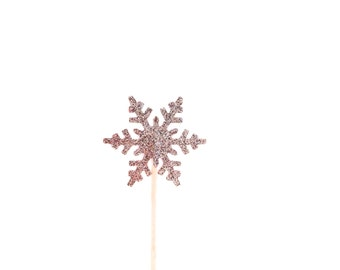 24 Silver Glitter Snowflake Cupcake Toppers - Food Picks - Party Picks